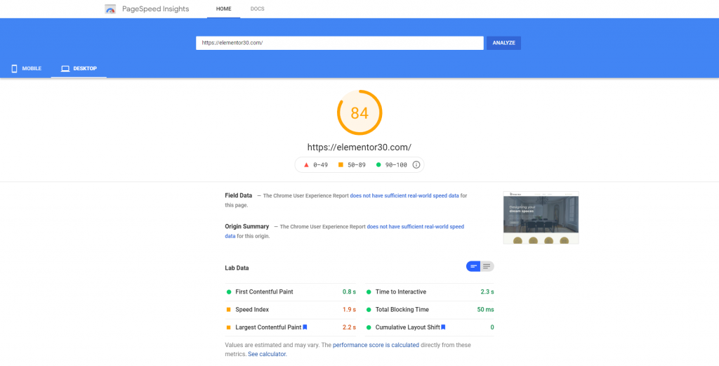 PageSpeed Insights - Elementor 3.0