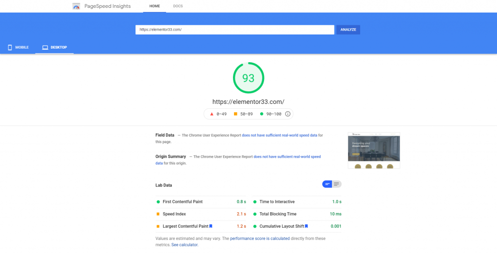 PageSpeed Insights - Elementor 3.3
